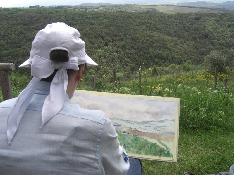 Painting on a cloudy spring day